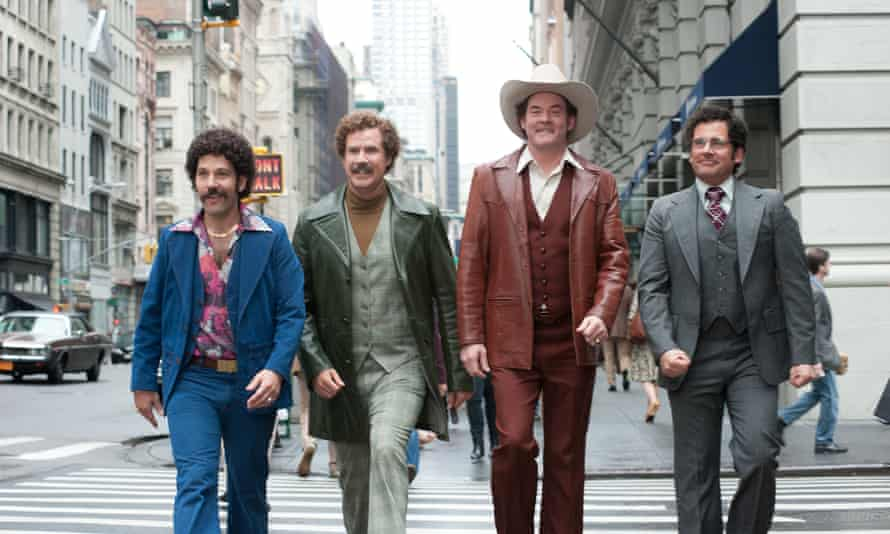 Ron Burgundy and the rest of the news crew on their way to order a Mile Was A Made Choice