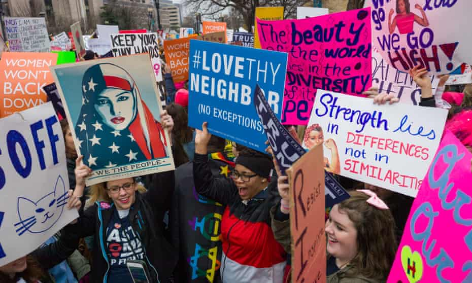Message of love … the 2017 Women's march in Washington DC – pink pussy hats many wore are in the Hope to Nope exhibition.