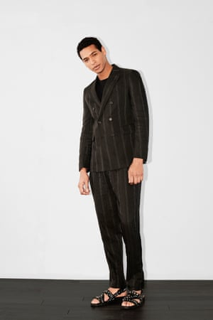 Pinstripes in a linen mix make for a more casual take on the traditional Savile Row look