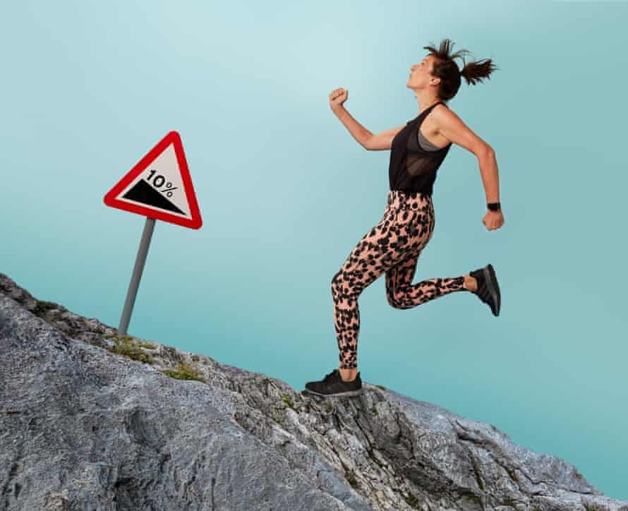 Zoe Williams running up a rocky slope