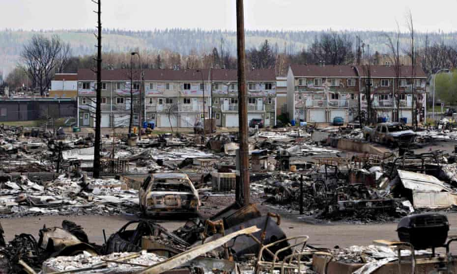 The devastated neighbourhood of Abasand in Fort McMurray.