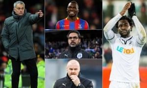 Clockwise, from left to right: José Mourinho, Christian Benteke, Wilfried Bony, Sean Dyche and David Wagner.