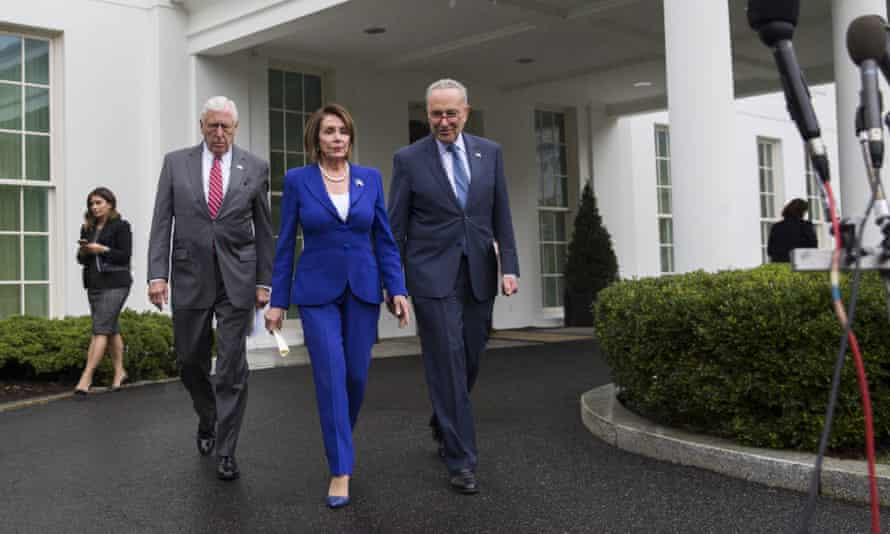 Democratic leaders leave the White House after their abortive meeting with the president.
