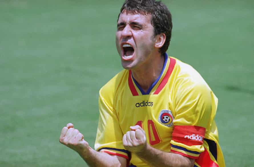 Gheorghe Hagi is overjoyed after his assist allows Ilie Dumitrescu to score Romania's second goal in their 3-2 win over Argentina.