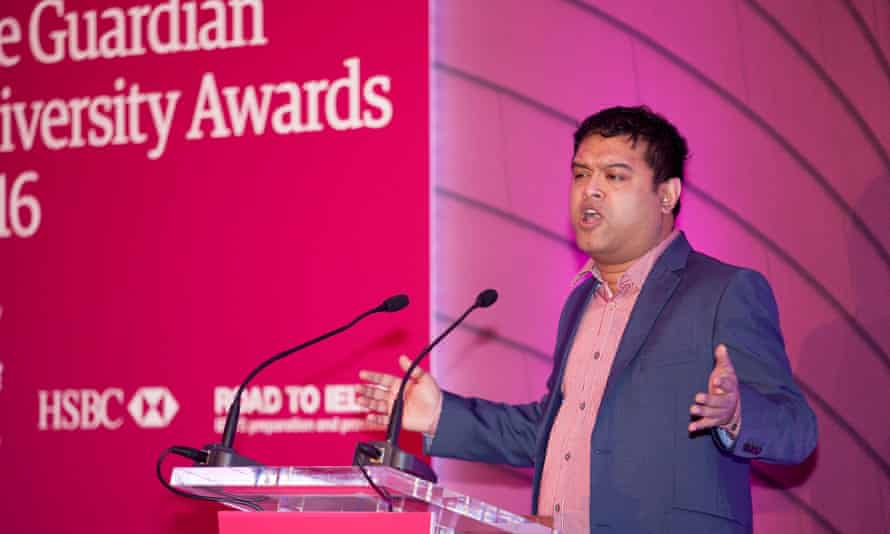 Awards host Paul Sinha on stage at the Guardian University Awards 2016, held at RIBA in central London.