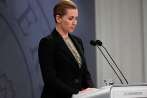 Denmark's Prime Minister Mette Frederiksen during a press briefing on Covid-19 in the State Department in Copenhagen, Denmark, 6 April 2020