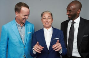 Abby Wambach poses with fellow US sporting great Peyton Manning and Kobe Bryant at this year's ESPY Awards