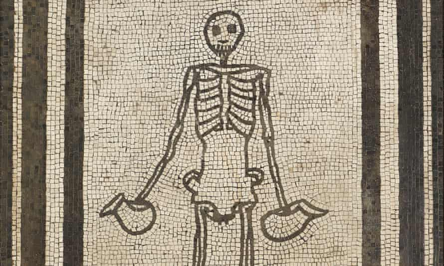 Floor mosaic from the House of the Vestals in Pompeii of a skeleton holding jugs of wine