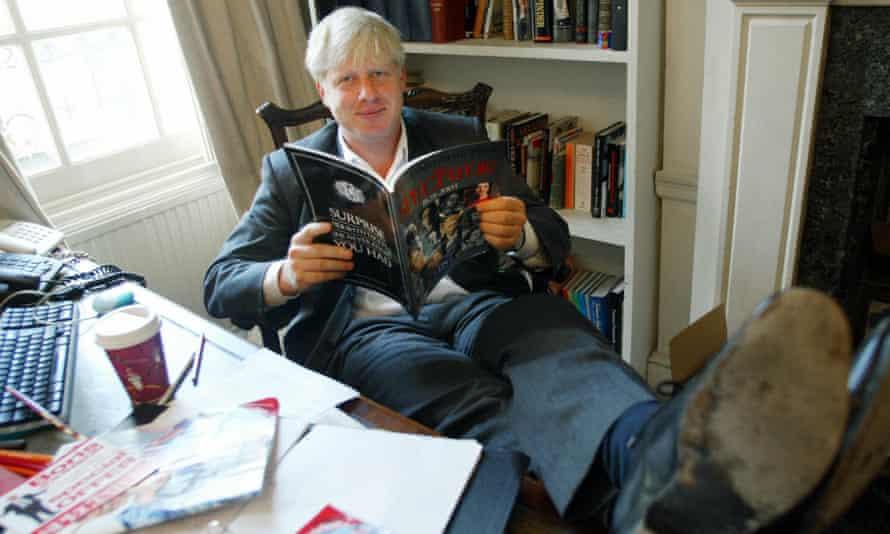 Boris Johnson in his office at the Spectator.