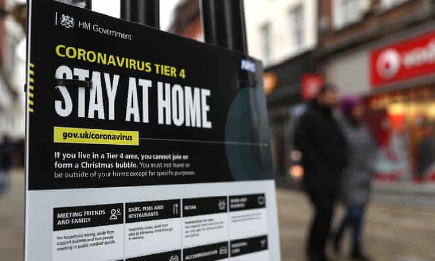 Boxing Day. Sign advising people in England to stay at home as tier 4 regulations take effect
