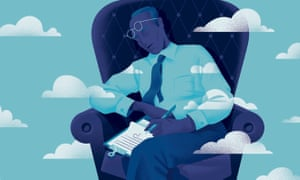 Illustration of man asleep in chair with clouds passing by