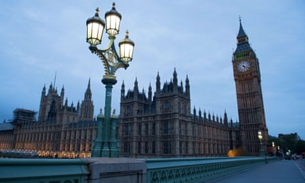 Dawn breaking over parliament