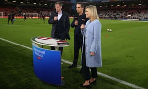 The Sky Sports presenters Jamie Carragher, Gary Neville and Kelly Cates. Sky has secured four of the best five packs for 2019-22.