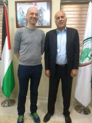 Nicholas Blincoe, author, and Jibril Rajoub, president of the Palestinian Football Association.
