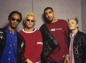 The Prodigy (Maxim, Liam Howlett, Leeroy Thornhill and Keith Flint), dance group, circa 1995