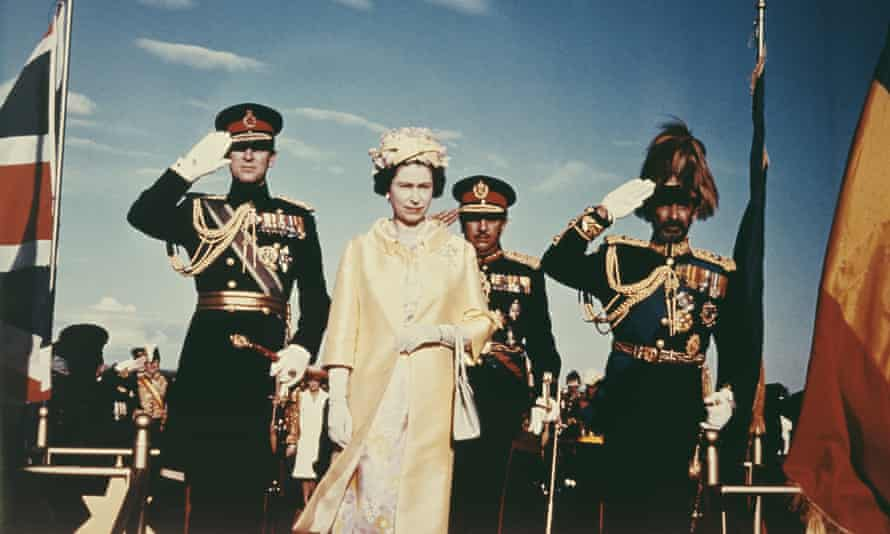 Queen Elizabeth II and Prince Philip with Emperor Haile Selassie I, 1965.