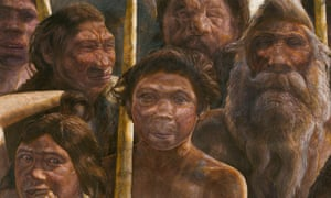An artist's rendering of Sima de los Huesos hominins, estimated to have lived approximately 400,000 years ago.