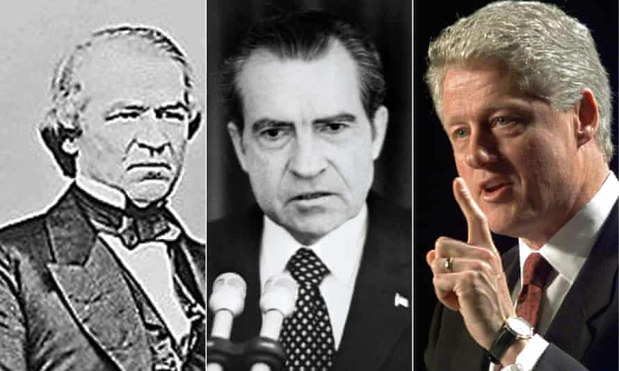 Left to right, former US presidents Andrew Johnson, Richard Nixon and Bill Clinton.