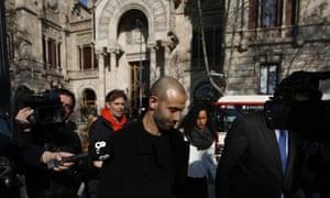 Javier Mascherano leaves court