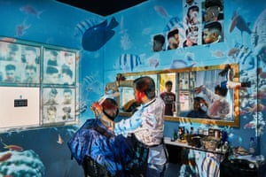 Bipul in his barber salon