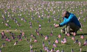 Chris Duncan photographs a Covid memorial installation of 20,000 American flags in Washington. His 75-year-old mother, Constance, died from coronavirus on her birthday.
