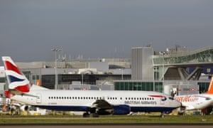 Planes at Gatwick airport, near Crawley