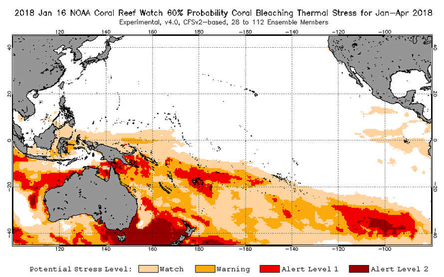 Bleaching outlook map for Pacific Ocean corals including the Great Barrier Reef.