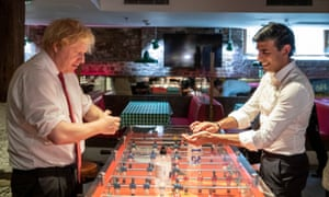 Boris Johnson and Rishi Sunak during a visit to a pizza restaurant in east London