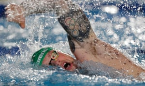 Adam Peaty of London Roar competing in the mixed 4x100m freestyle relay, a stroke he's never competed in before.