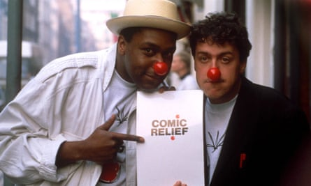 Comic Relief co-founder Lenny Henry with Griff Rhys Jones in 1987