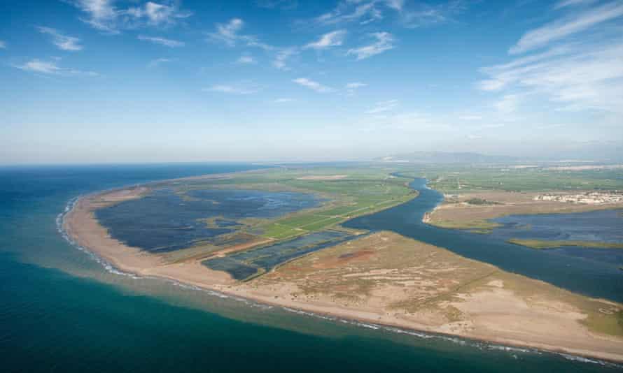 Aerial view of Buda island in the Ebro Delta nature park, Tarragona.