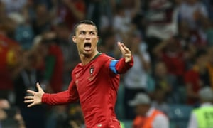 Cristiano Ronaldo celebrates after scoring his third goal.