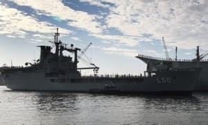 HMAS Tobruk in Sydney after its final voyage