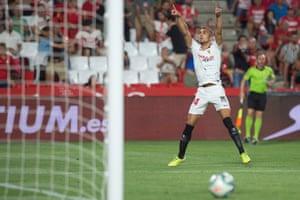 Sevilla midfielder Joan Jordan celebrates after scoring the only goal at Granada.