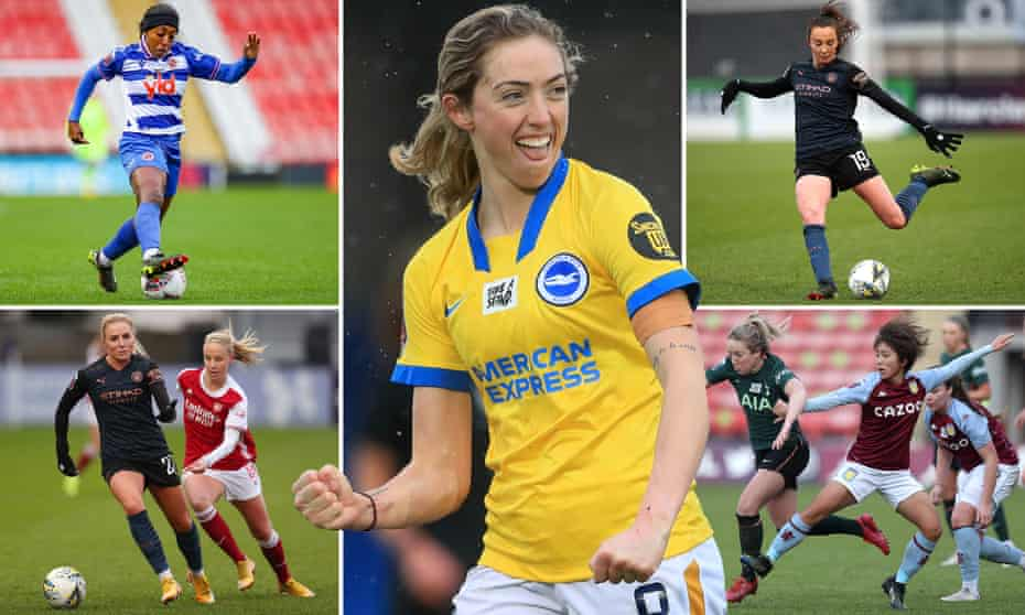From top left: Reading forward Danielle Carter, Brighton and Hove Albion's Megan Connolly, Caroline Weir of Manchester City, Mana Iwabuchi of Aston Villa, Alex Greenwood of Manchester City is closed down by Beth Mead of Arsenal.