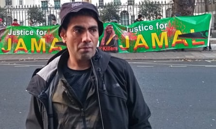 Ghanem Almasarir at a protest outside the Saudi embassy in London last year calling for justice for Jamal Khashoggi.