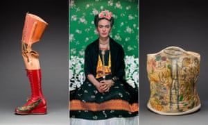Frida Kahlo, centre, in 1938. Left: her prosthetic leg with leather boot. Right: plaster corset painted by Frida Kahlo.