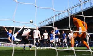 Richarlison acrobatically scores the opening goal for Everton against Manchester United at Goodison Park.