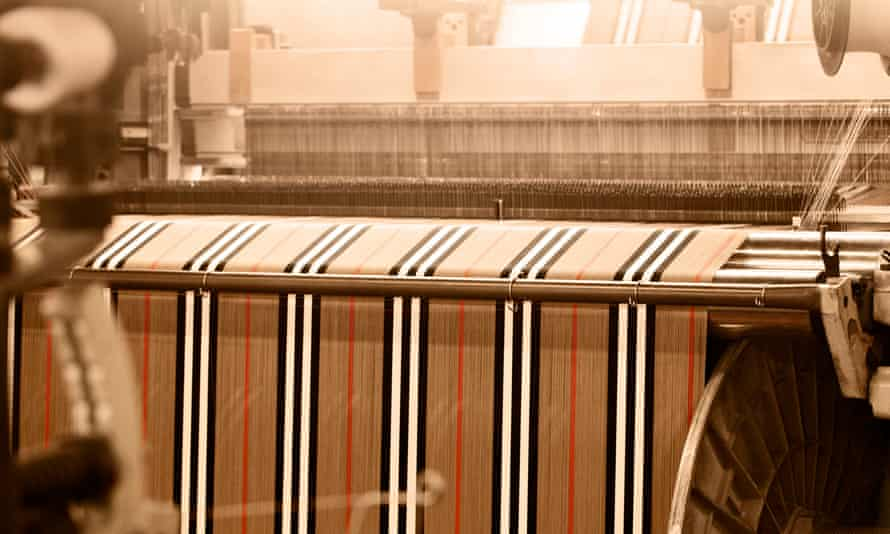 Burberry fabric in production.