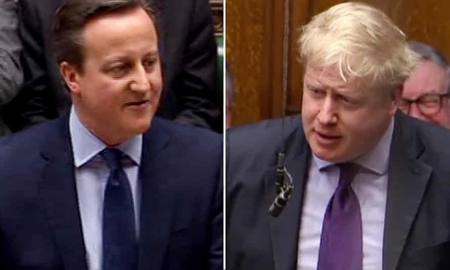 David Cameron and Boris Johnson in the House of Commons.