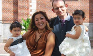 Adelma Tapia Ruiz and her Belgian husband Christophe Delcambe, with their twin daughters Maureen and Alondra. Ruiz was killed in the terrorist attack in Brussels, Belgium.