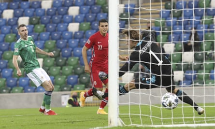 Celtic's Mohamed Elyounoussi puts Norway ahead in the second minute.