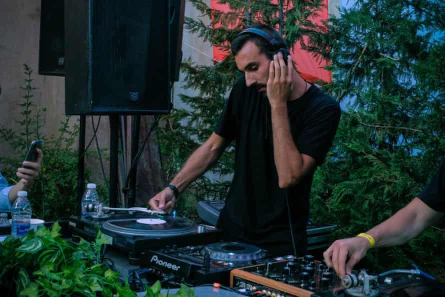 No income … Ralph Nasr DJing earlier this year.