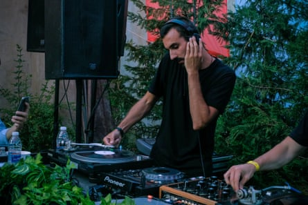 No income … Ralph Nasr DJing earlier this year.