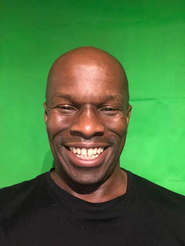 Maurice Mcleod with his green screen.