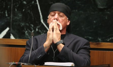 Hulk Hogan, whose given name is Terry Bollea, takes a moment as attorneys talk to the judge in court on Tuesday.