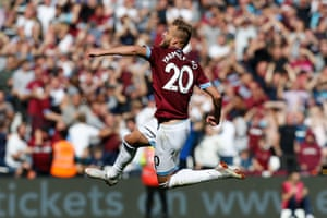 West Ham United's Andriy Yarmolenko celebrates after his shot was deflected into the goal
