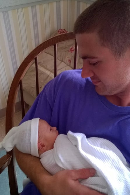 Joseph Cahill and his newborn niece, ten days before he died.