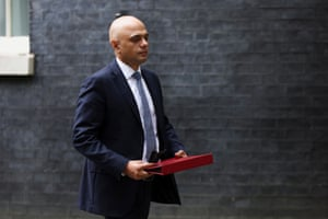 Sajid Javid, the new health secretary, arriving for a meeting in Downing Street this morning.
