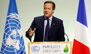 David Cameron delivers a speech to the Paris climate change conference. His government's policies fly counter to the agreement reached in Paris.